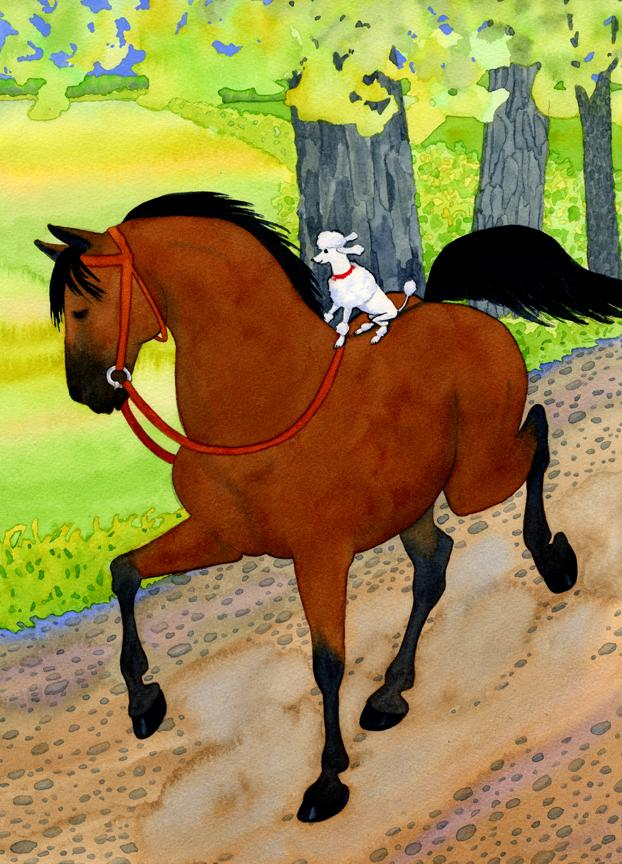 Lively Watercolor Landscape. A Miniature Poodle Riding A Horse. Sweet. Funny. Crazy!!!
